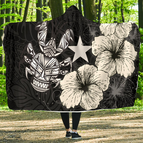 Image of Niue Hibiscus Coconut Crab Polynesian Hooded Blanket - Style Black A10
