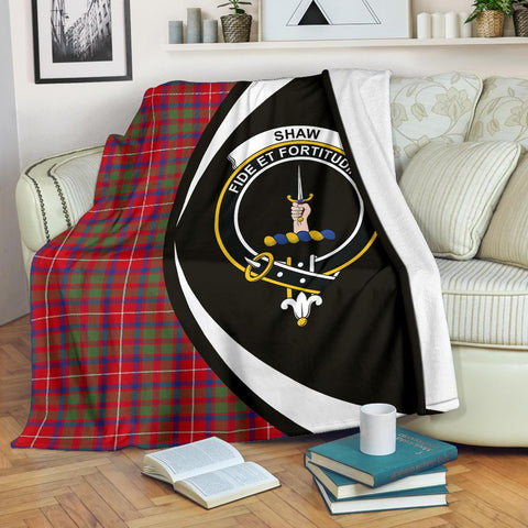 Image of Shaw Red Modern Tartan Clan Crest Premium Blanket Circle