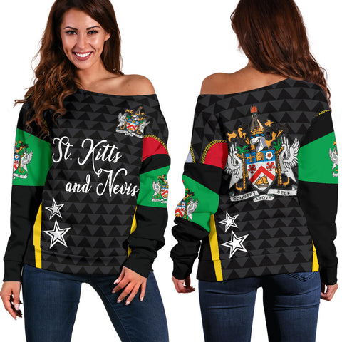 Saint Kitts And Nevis Off Shoulder Sweater Exclusive Edition K4 | 1sttheworld.com