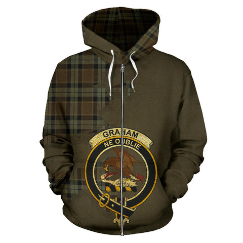 Graham of Menteith Weathered  Royal All Over Hoodie (Zip)