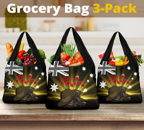 1stTheWorld Australia Anzac Day Grocery Bag 3-Pack - Lest We Forget Hat And Boots Poppies