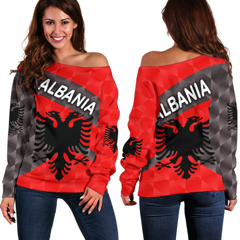 Albania Women Off Shoulder Sweater Sporty Style K8