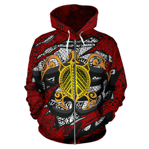 Hawaii Turtle Polynesian Tribal All Over Zip-Up Hoodie JT6