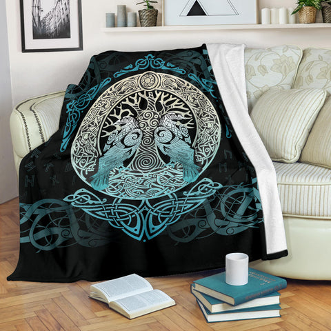 Image of Viking Blanket Yggdrasil and Ravens A7