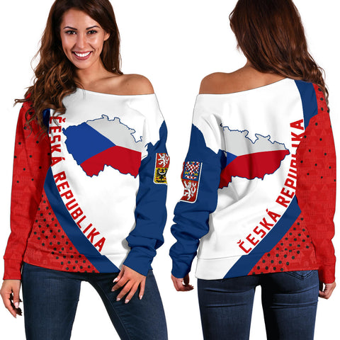(Česká republika) Czech Republic Map Generation II Off Shoulder Sweater K6 - Red and White - Front and Back - for Women