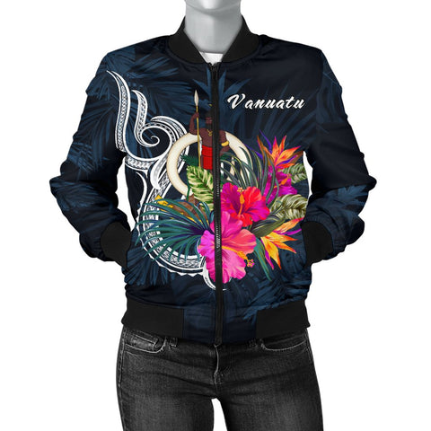 Vanuatu Polynesian Women's Bomber Jacket - Tropical Flower
