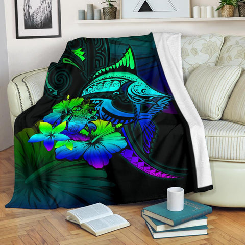 Bahamas Premium Blanket - Colorful Marlin and Hibiscus