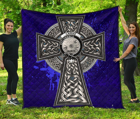Cairns Crest Scottish Celtic Cross Scotland Quilt | Home Set | Over 300 Clans