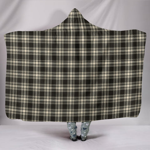 Menzies Black & White Ancient, hooded blanket, tartan hooded blanket, Scots Tartan, Merry Christmas, cyber Monday, xmas, snow hooded blanket, Scotland tartan, woven blanket