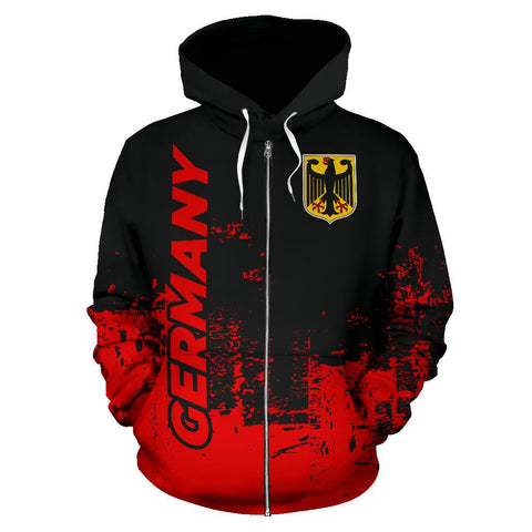 Germany All Over Zip-Up Hoodie - Smudge Style Front