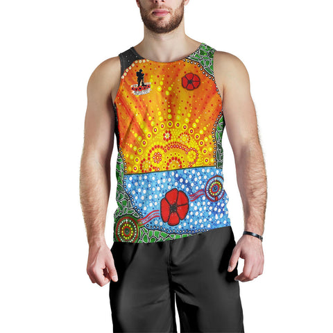 Aboriginal Australian Anzac Day Men Tank Top - Lest We Forget Poppy