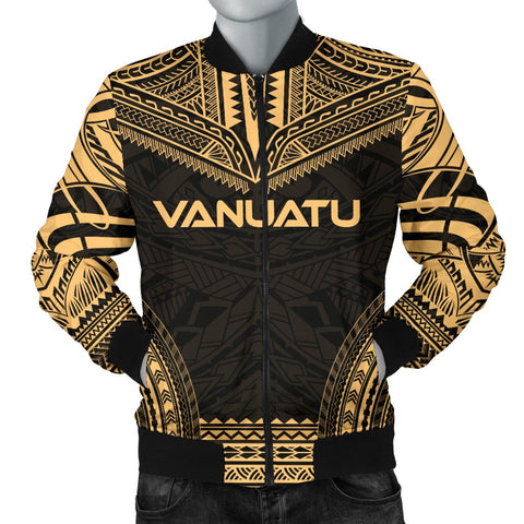 Vanuatu Polynesian Chief Men's Bomber Jacket - Gold Version