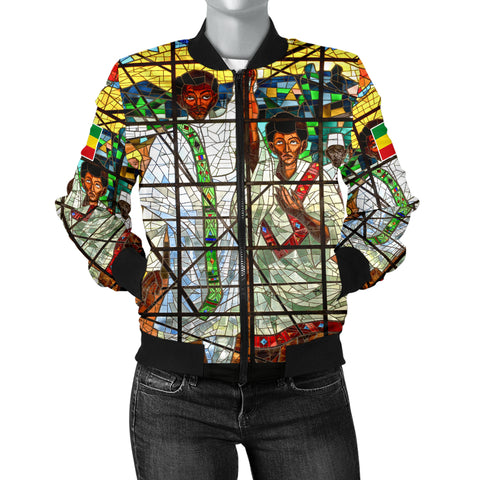 Ethiopia Bomber Jacket, Ethiopian Orthodox Flag Women A10
