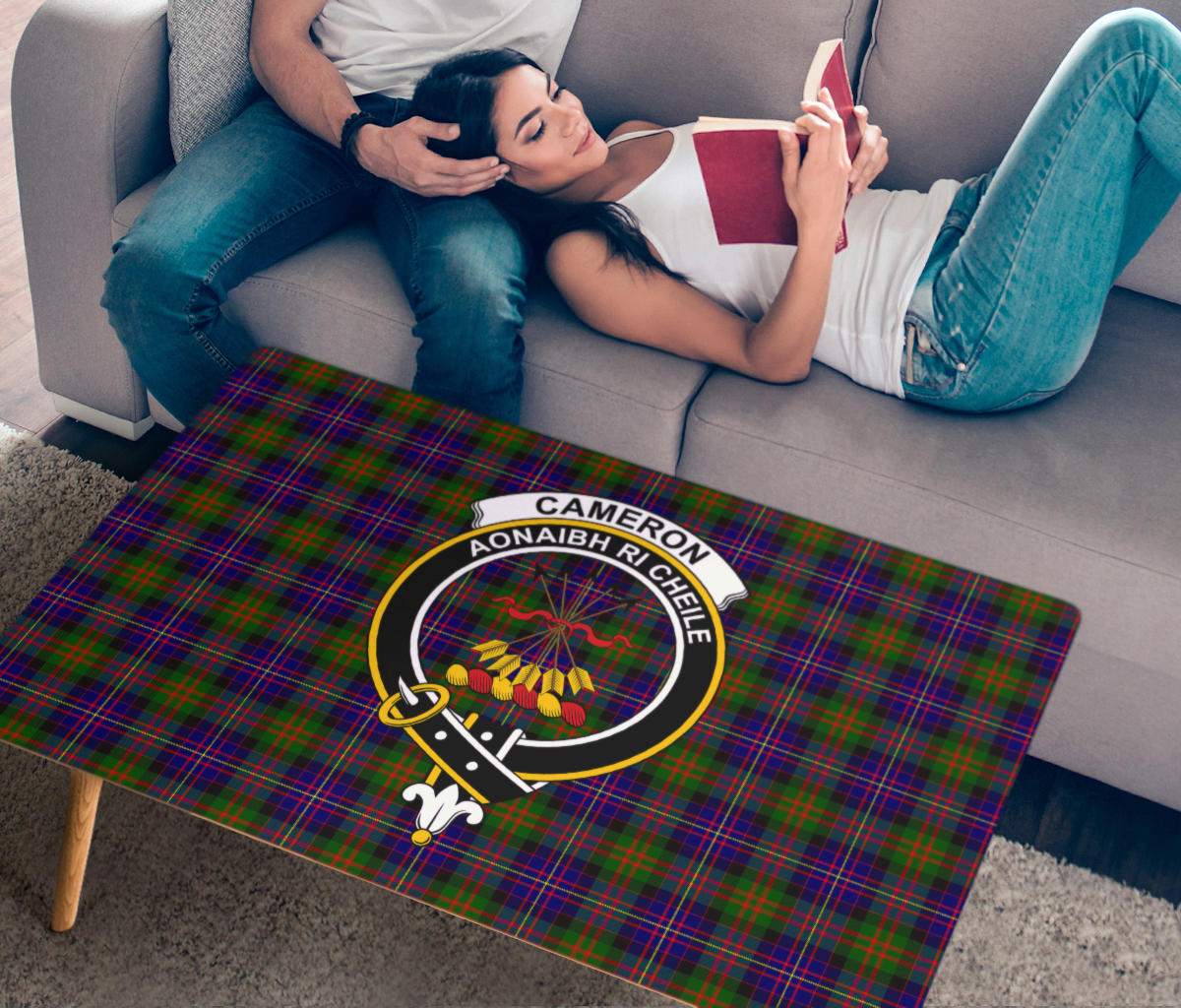 Cameron of Erracht Modern Crest Tartan Rectangular Coffee Table
