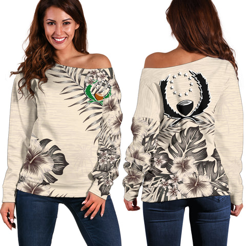 Pohnpei The Beige Hibiscus Off Shoulder Sweater A7