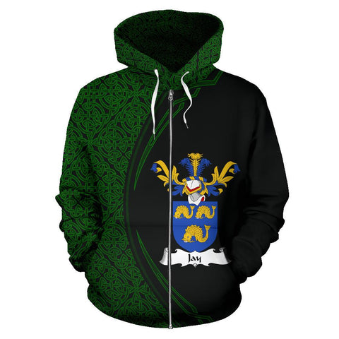 Image of Jay Family Crest Zip Hoodie Irish Circle Style Hj4