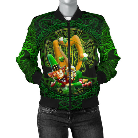 Irish Leprechaun Women's Bomber Jacket - Ireland's Trickster Fairies - BN21
