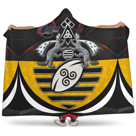 Bretagne Rugby with Celtic Triskelion and Stoat Ermine Sport Hooded Blanket - BN21