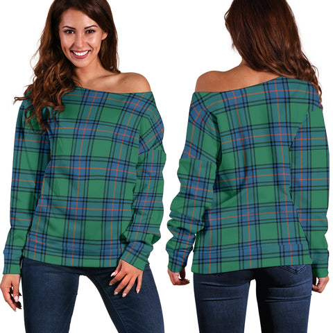 Image of Tartan Womens Off Shoulder Sweater - Shaw Ancient - Bn | 1sttheworld.com