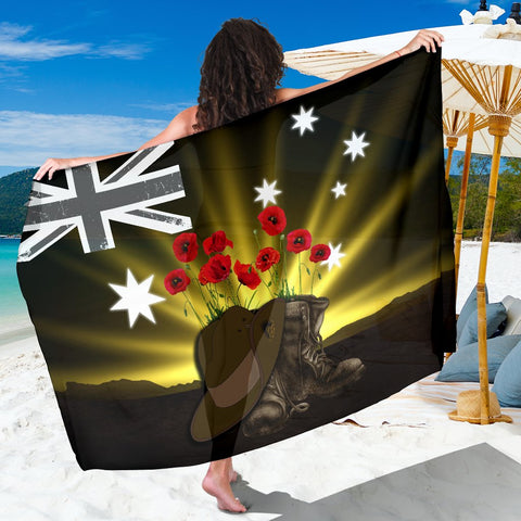 1stTheWorld Australia Anzac Day Sarong - Lest We Forget Hat And Boots Poppies