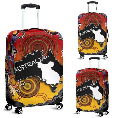 Australia Aboriginal Luggage Covers With Map