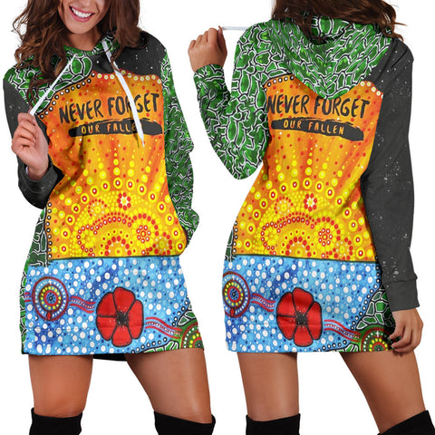 Aboriginal Australian Anzac Day Hoodie Dress - Lest We Forget Poppy