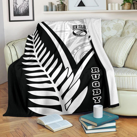 Image of New Zealand Rugby Premium Blanket - New Zealand Fern & Maori Patterns