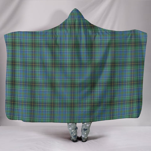 Image of MacInnes Ancient, hooded blanket, tartan hooded blanket, Scots Tartan, Merry Christmas, cyber Monday, xmas, snow hooded blanket, Scotland tartan, woven blanket
