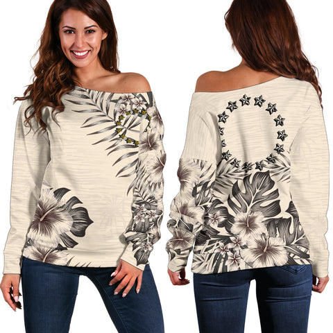 Cook Islands 2 The Beige Hibiscus Off Shoulder Sweater A7