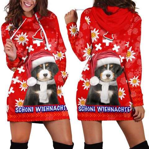 Christmas Edelweiss Switzerland Women Hoodie Dress Bernese Mountain Dog | 1sttheworld