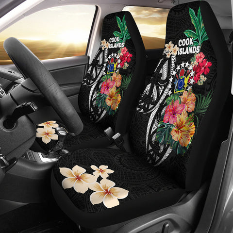 Cook Islands Car Seat Covers Coat Of Arms Polynesian With Hibiscus