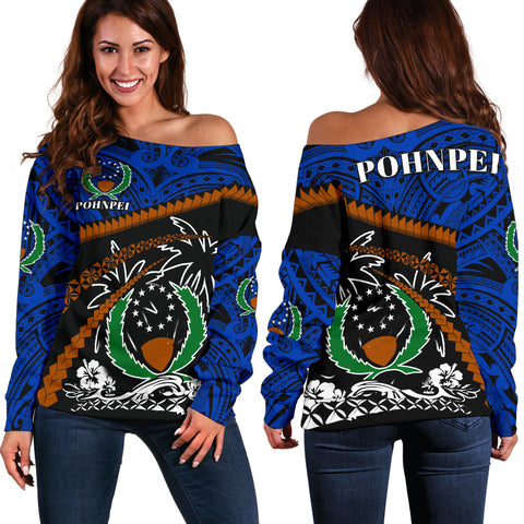 Pohnpei Women Off Shoulder Sweater - Road to Hometown K4