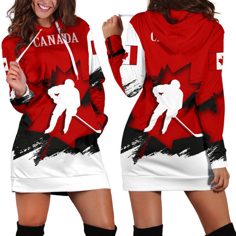 Canada Hoodie Dress - Maple Leaf Hockey (Women) A02