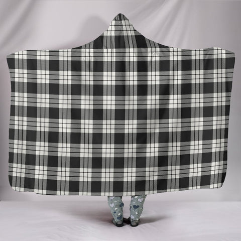 Image of MacFarlane Black & White Ancient, hooded blanket, tartan hooded blanket, Scots Tartan, Merry Christmas, cyber Monday, xmas, snow hooded blanket, Scotland tartan, woven blanket