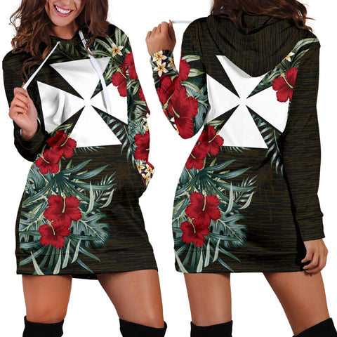 Image of Wallis and Futuna Hibiscus Hoodie Dress A7