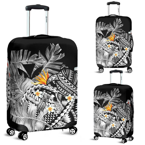 Image of Kanaka Maoli (Hawaiian) Luggage Covers, Polynesian Pineapple Banana Leaves Turtle Tattoo Gray