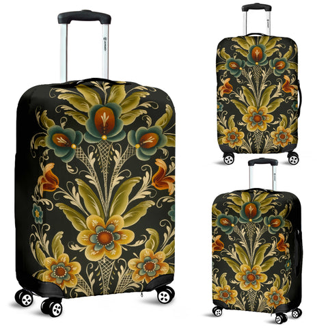 Image of Norwegian Rosemaling Luggage Cover | HOT Sale