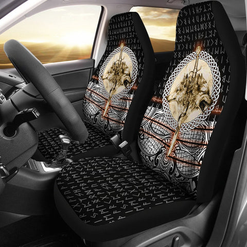 Viking Style Car Seat Covers - Wolf and Vikings Tattoo 3D A27