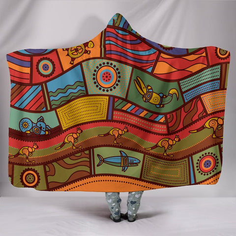 Image of Australia Hooded Blanket - Aboriginal Art With Animals - BN17