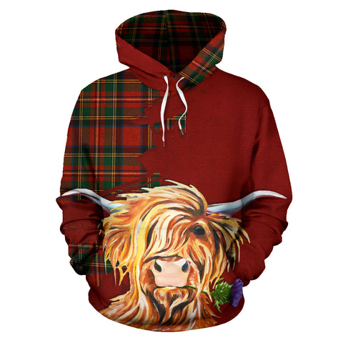 Thistle Highland Cow Royal All Over Hoodie