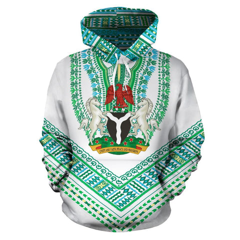 Nigerian Coat of Arms Dashiki Hoodie - White K5