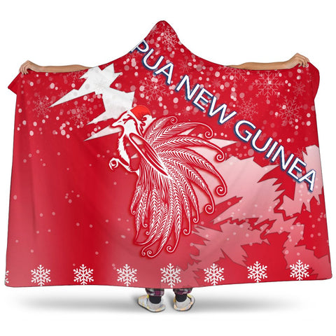Papua New Guinea Paradise Bird Hooded Blanket - Red - Christmas Style - J82
