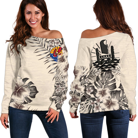 Tahiti The Beige Hibiscus Off Shoulder Sweater A7