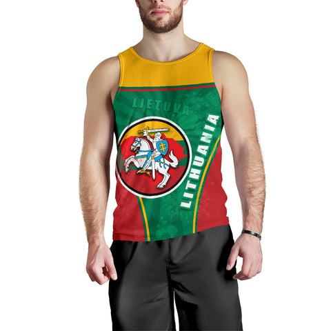 Lithuania - Lietuva Men Tank Top Circle Stripes Flag Proud Version Front | 1sttheworld