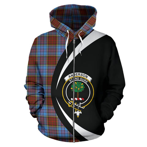 Image of Anderson Modern Tartan Circle Zip - Up Hoodie HJ4