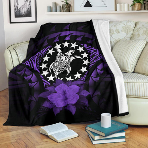 Cook Islands Premium Blanket - Purple Hibiscus | Special Custom Design