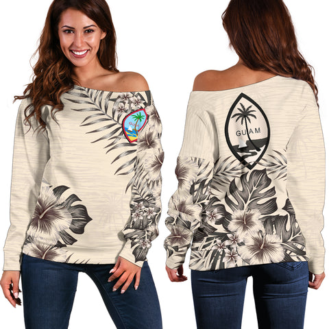 Guam The Beige Hibiscus Off Shoulder Sweater A7