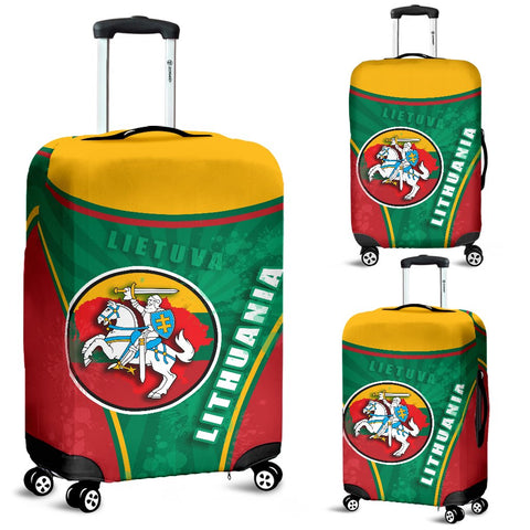 Lithuania - Lietuva Luggage Covers Circle Stripes Flag Proud Version | 1sttheworld