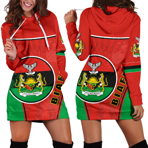 Biafra Women Hoodie Dress Circle Stripes Flag Proud Version