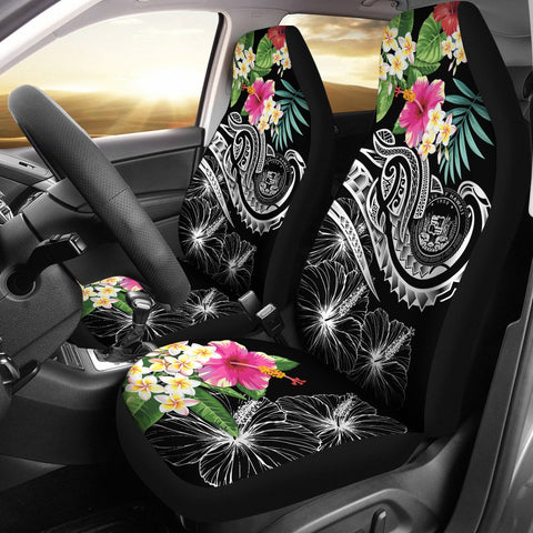 Image of Polynesian Hawaii Car Seat Covers - Summer Plumeria (Black)